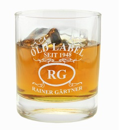 Whiskyglas Old Label mit Gravur
